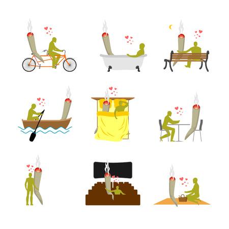 stoned: Lover joint or spliff set. addict on picnic. Man and smoking drugon bike. Marijuana lovers in bed. Romantic illustration hemp in  cinema. Knanbis narcomaniac ang boat Illustration