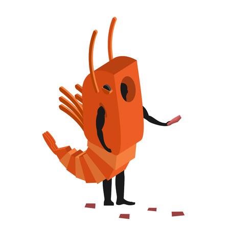 plancton: traje de camarones promotor de la mascota del hombre. Hombre en traje de animales marinos distribuye volantes. Marionetas plancton dedican a mercancías de la publicidad