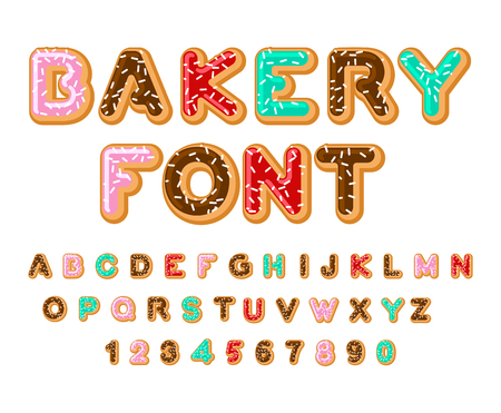Bakery font. Donut ABC. Baked in oil letters. Chocolate icing and sprinkling. Edible typography. Food lettering. Doughnut alphabet.