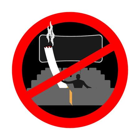 No smoking in cinema. Red sign prohibiting smoking. Ban smokers and cigarette Illustration