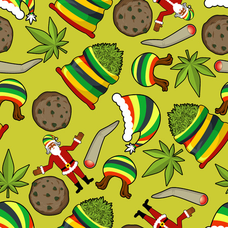 rasta hat: Rastaman pattern. Rasta Santa Claus ornament. Big sack of cannabis. bag of marijuana. Pile of green cannabis. Large joint or spliff. Smoking dope. Cheerful grandfather and Rastafarian hat. New Year in Jamaica Illustration