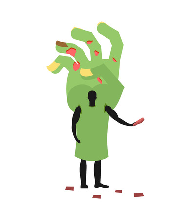 promoter: Zombie Hand costume man mascot promoter. Male in suit green arm distributes flyers. Puppets monster engaged in advertising goods