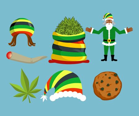 spliff: Rasta New Year icons set. Santa Claus and Big sack hemp. bag of marijuana. pile of green cannabis. Large joint or spliff. Smoking dope. Cheerful grandfather and Rastafarian hat. Christmas in Jamaica