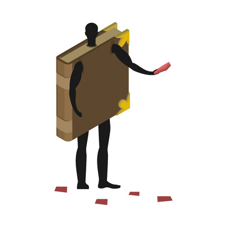 promoter: Book costume man mascot promoter. Male in suit volume distributes flyers. Puppets psalterium engaged in advertising goods