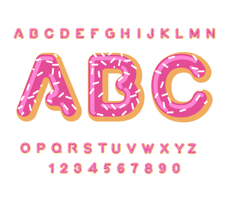 dough: Donut ABC. pie alphabet. Baked in oil letters. icing and sprinkling. Edible typography. Food lettering. Doughnut font