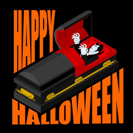Happy Halloween. Dracula in open coffin. Illustration for terrible holiday. Vampire in casket
