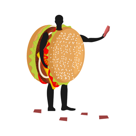 Hamburger costume man mascot promoter. Male in suit burger distributes flyers. Puppets fast food engaged in advertising goods Illustration