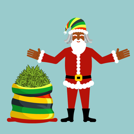 Rasta Santa Claus wishes. Big santas sack hemp . Bag of marijuana. Pile of green cannabis. Smoking drug. Cheerful grandfather with dreadlocks and Rastafarian hat. New Year in Jamaica