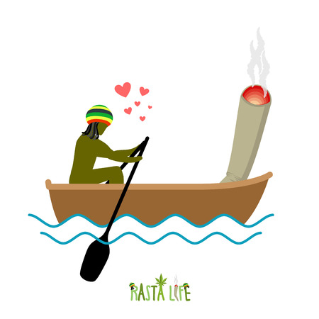 spliff: Rasta life. Rastaman and joint or spliff boating. Man and smoking drug walk along lake. Marijuana lovers and boat. Romantic illustration hemp