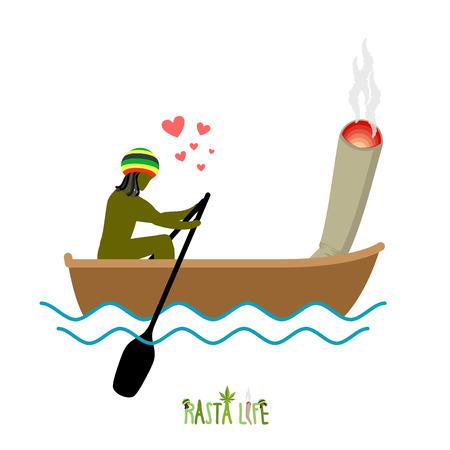 spliff: Rasta life. Rastaman and joint or spliff boating. Man and smoking drug walk along lake. Marijuana lovers and boat. Romantic illustration hemp