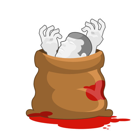 murder: Corpse in sack with bloody puddles. Dissected dead body in bag. Hands and head of deceased. Packing for walking departed. Hide traces of murder