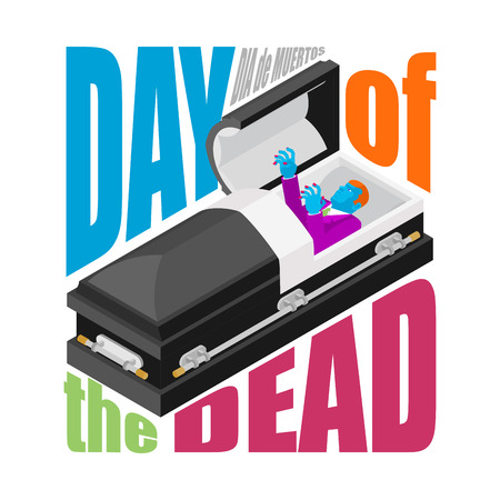dea: Day of the Dead. Open coffin. departed zombie in casket. Mexican traditional religious holiday. National celebration in Mexico. Dea de los muertos card and poster