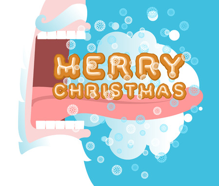 steam mouth: Santa Claus open mouth. Santa eating gingerbread on Christmas. Steam from mouth. Flying snow. New Year illustration. Teeth and tongue Illustration