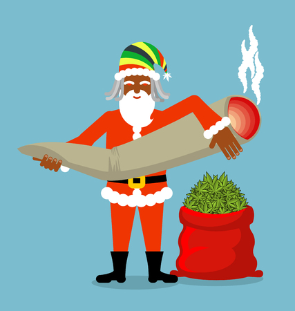 spliff: Rasta Santa Claus wishes. Big Red sack hemp . Bag of marijuana. Pile of green cannabis. great joint or spliff. Smoking drug. Cheerful grandfather with dreadlocks and Rastafarian hat. New Year in Jamaica