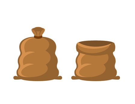 coarse: Empty and full sack. Brown textile bag on white background Illustration