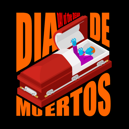 Day of the Dead. Open coffin. departed zombie in casket. Mexican traditional religious holiday. National celebration in Mexico. Dea de los muertos card and poster