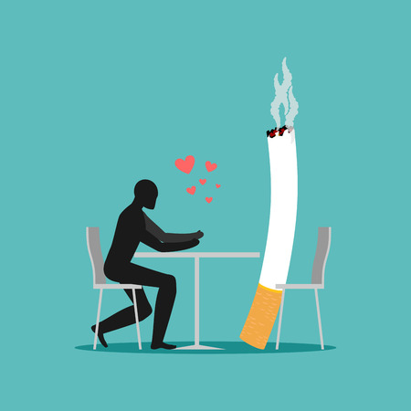 Lover smoke. Man and cigarette in cafe. Smoker in restaurant. Nicotine lovers are sitting at table. Romantic illustration of smoking