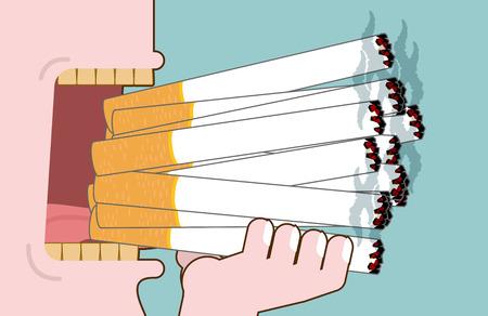 yellow teeth: Man smokes Lot cigarettes. Many of nicotine. Open mouth heavy smoker. Yellow teeth. nicotine addiction