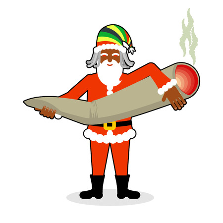 spliff: Rasta Santa Claus great joint or spliff. Smoking drug. Cheerful grandfather with dreadlocks and Rastafarian hat. New Year in Jamaica