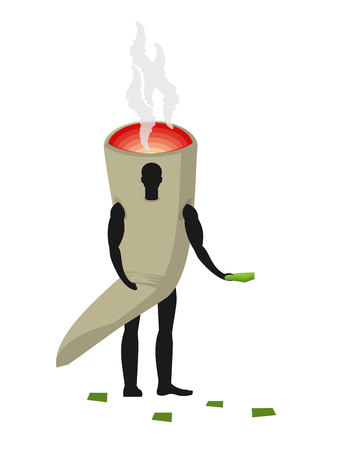 reefer: Joint or spliff costume man mascot promoter. Male in suit Smoking drug distributes flyers. Puppets marijuana engaged in advertising goods Illustration