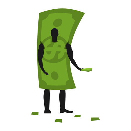 Money Mascot man promoter. Male in dollar costume handing out flyers. Cash puppets engaged in advertising goods Stock Illustratie