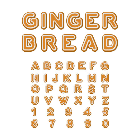 christmas cookie: Gingerbread font. Christmas cookie Alphabet . Mint Cookies ABC. Baked letters. Edible typography. Food lettering Illustration