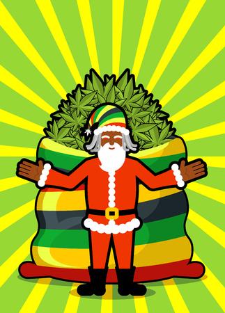rasta hat: Rasta Santa Claus wishes. Big Red sack hemp. Bag of marijuana. Pile of green cannabis. Smoking drug. Cheerful grandfather with dreadlocks and Rastafarian hat. New Year in Jamaica