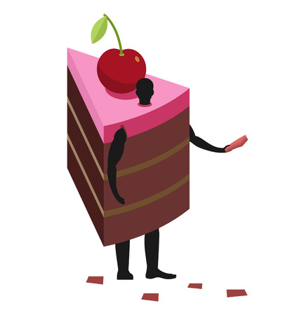 promoter: Cake costume man mascot promoter. Male in suit piece of pie distributes flyers. Puppets dessert engaged in advertising goods