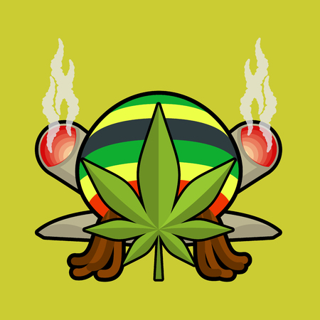 spliff: Rasta logo. Cannabis Leaf and joint or spliff. Rastaman cap and dreadlocks. Emblem for Rastafarian. Reggie sign Illustration