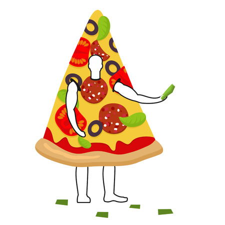 promoter: Pizza man mascot promoter. Male in suit slice distributes flyers. Puppets food engaged in advertising goods