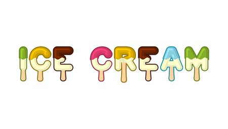Tipografia di gelato. Alfabeto di popsicle. Alfabeto dolce freddo. Tipografia alimentare. Lettere commestibili. Lettering dessert