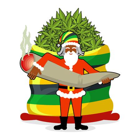 rasta hat: Rasta Santa Claus wishes. Big Red sack hemp . Bag of marijuana. Pile of green cannabis. great joint or spliff. Smoking drug. Cheerful grandfather with dreadlocks and Rastafarian hat. New Year in Jamaica