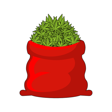 santa sack: Full Santa Sack of cannabis. Large red bag of marijuana. Smoking drug. heap hemp. Gift for New Year in Jamaica