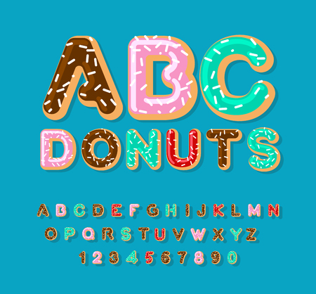 Donuts ABC. pie alphabet. Baked in oil letters. icing and sprinkling. Edible typography. Food lettering. Doughnut font