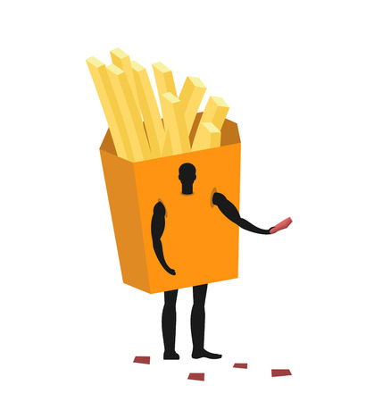 promoter: French fries costume man mascot promoter. Male in suit potato distributes flyers. Puppets food engaged in advertising goods