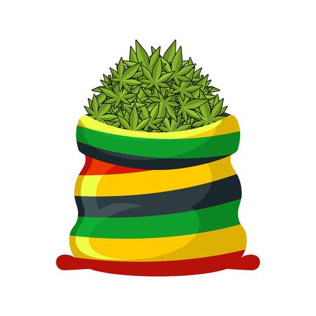 Rasta Sack of cannabis. Large bag of marijuana for Rastaman. Smoking drug. heap hemp