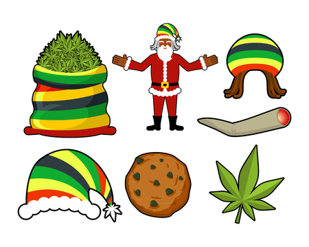 rasta hat: Rasta Christmas icons set. Santa Claus and Big sack hemp. bag of marijuana. pile of green cannabis. Large joint or spliff. Smoking dope. Cheerful grandfather and Rastafarian hat. New Year in Jamaica