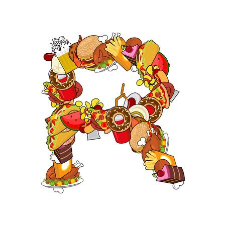 La carta de comida R. Comestible alfabeto signo de la pizza y las hamburguesas. Elementos del modelo de alimentación alfabeto. carne concepto tipo como logotipo. Pizza y tacos. Donuts y establecimientos. Perrito caliente y galletas. pavo al horno y sandía. Carne de cerdo y la torta