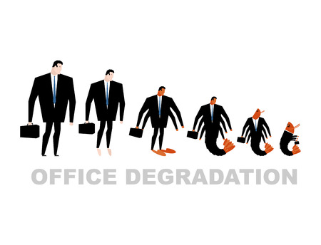 transforms: Office degradation. Manager turns into office plankton. Man transforms into shrimp. Marine crustaceans in dark suit. Business illustration