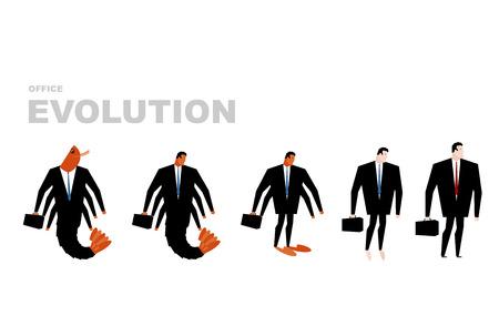 plancton: Evolución de la oficina. oficina de plancton se convierte en jefe. Camarones en el desarrollo humano. Desde gerente de director. crustáceos marinos en traje de negocios. ilustración de negocio Vectores