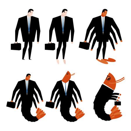 plancton: transformación oficina de plancton. Gerente y camarones con la maleta. Traje de negocios. Crustáceos y jefe
