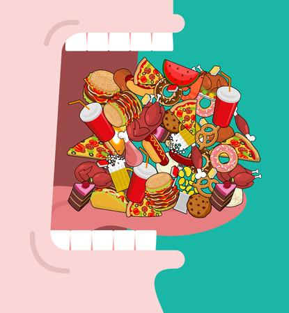 Ampiamente aperto bocca sacco di cibo. L'assorbimento di alimentazione. Mangiare molti di farina. Molto affamati. Pizza e tacos. patatine fritte e hamburger. Hotdog e biscotti. tacchino al forno e anguria. Carne di maiale e torta. Donuts e gnocchi