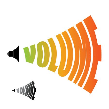 volume control: Volume. Sound level. Changing  loudness level of audio Illustration