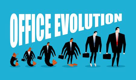 plancton: Evolución de la oficina. oficina de plancton se convierte en jefe. Camarones en el desarrollo humano. Desde gerente de director. crustáceos marinos en traje de negocios. ilustración de negocio