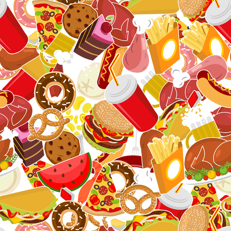 Food pattern. Feed ornament. meat background. Pizza and taco. French fries and hamburger. Hotdog and cookies. Baked turkey and watermelon. Pork and cake. Donuts and dumplings