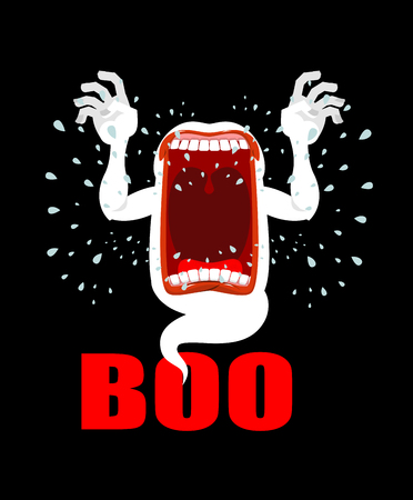 horrible: Scary ghost shouts BOO. Horrible wraith frightening screams. Phasing white monster with an open mouth. Wild howl. hungry spook Illustration