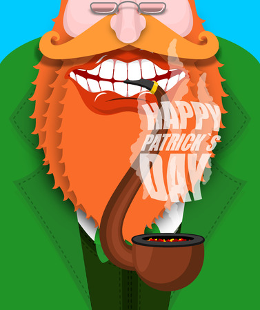 Leprechaun smokes pipe. Happy Patricks Day. Smoking set brier and Smoke, embers. Red beard. Open your mouth and teeth. National Holiday in Ireland Illustration