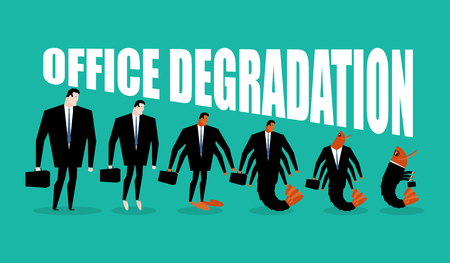 plankton: Office degradation. Manager turns into office plankton. Man transforms into shrimp. Marine crustaceans in dark suit. Business illustration