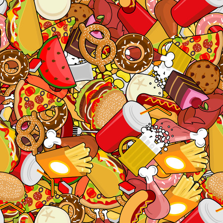 Fast Food seamless pattern. Feed ornament. meat background. Pizza and taco. French fries and hamburger. Hotdog and cookies. Baked turkey and watermelon. Pork and cake. Donuts and dumplings Illustration
