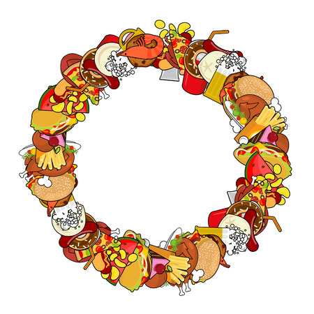 Fast Food ring frame. Background of feed. Edible circle cadre. Pizza and tacos. French fries and hamburger. Hotdog and cookies. Baked turkey and watermelon. Pork and cake. Donuts and dumplings Vettoriali